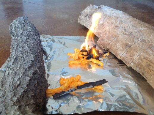 campfire with cheetos